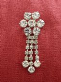 1980s Sparkly Brooch - Diamante Drop Brooch - Bold Diamante Jewels Very Bling!